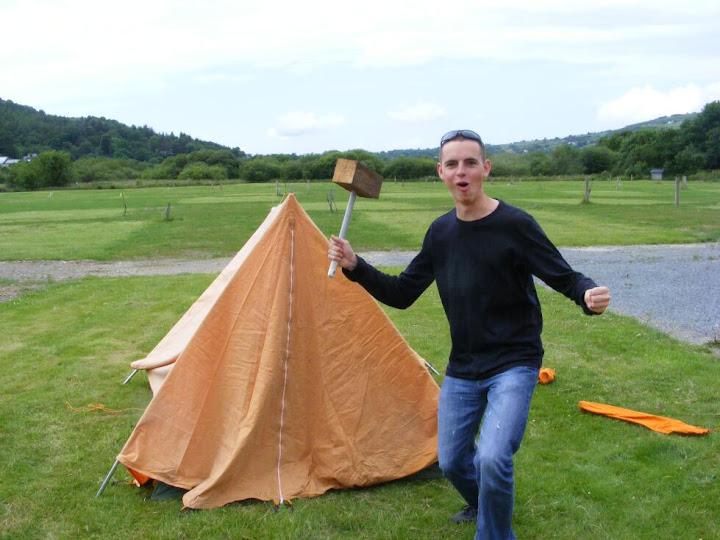 Abuse of a mallet for hammering in tent pegs