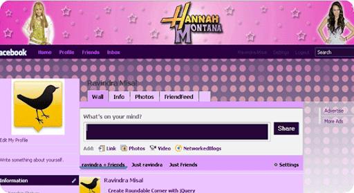 Facebook theme - Hannah Montana