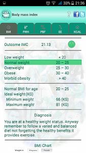 BMI Ideal weight and calories screenshot 17