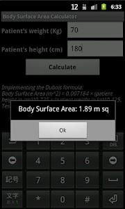 Body Surface Area Calculator screenshot 1