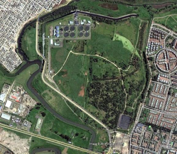 Foto satelital PTAR Salitre y Humedal El Cortijo
