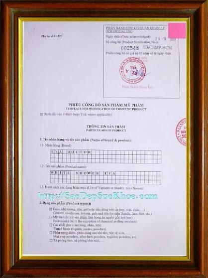 Kem tắm trắng toàn thân Eva Doctor - White Shower Eva được cấp giấy chứng nhận của Sở Y Tế TP.HCM. Giấy phép: 002548/ 13/ CBMP -HCM.