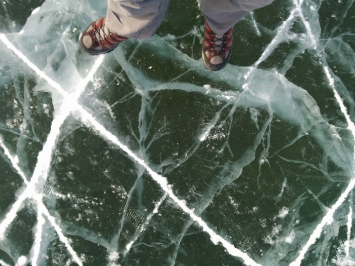 Walking on a frozen lake