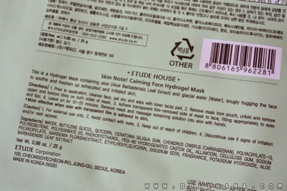 Etude House Skin Note Calming Face Hydrogel Mask