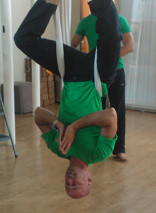 Mr. Mark Wood showing the anti-gravity yoga