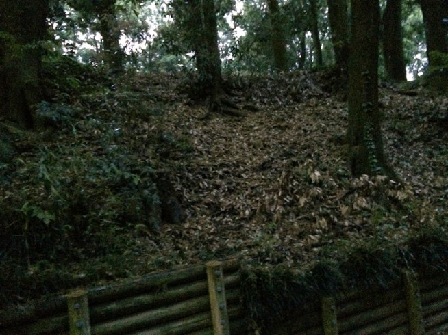 追悼碑に向かう園内の小径の右側の写真