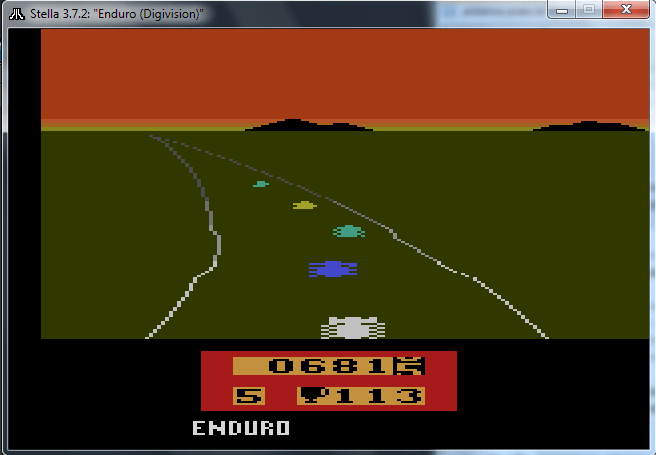 Game Enduro do Atari 2600 rodando no emulador Stella