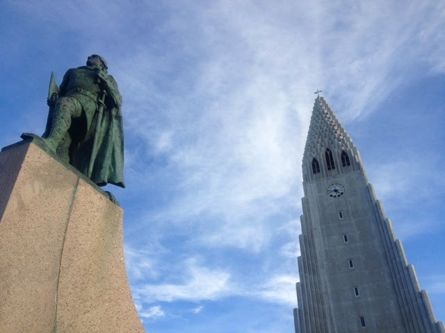 The cathedral in Reykjavic with warrior protector