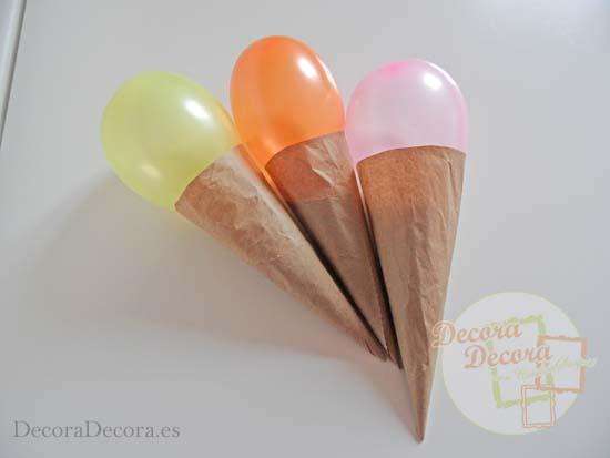 Cómo hacer cucuruchos de globos para fiesta.