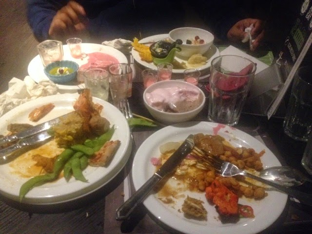 plats of food at the Global buffet in Ilford
