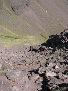 A steep and rocky descent to Glas Tholl