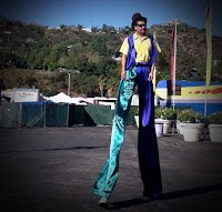 stilt walker at Rose Bowl Flea Market, 10/14/2012