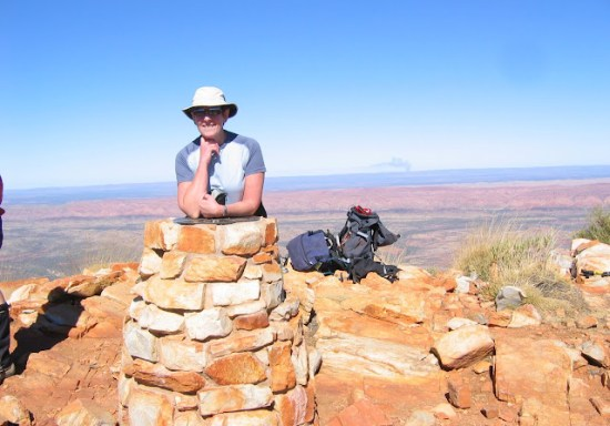 Fran at the Peak of Mt Sondor, Larapinta Trail