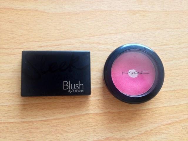 Sleek Flamigo's blush compact next to Mac's Dollymix blush