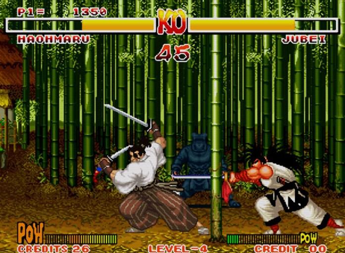 Haohmaru cortando um bambu no cenário de Jubei.