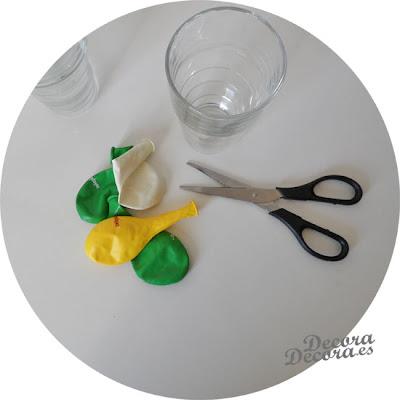 Cómo decorar vasos con globos.