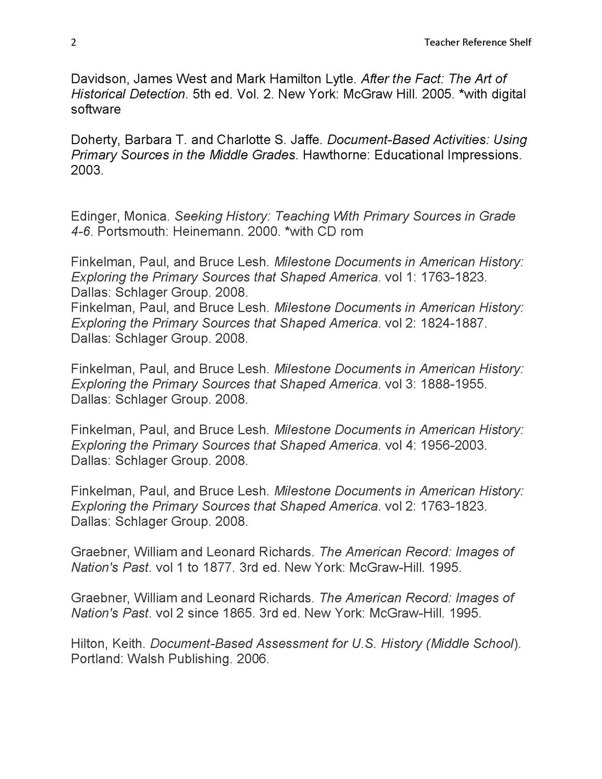 Primary Source Seminar Teacher Reference Shelf
