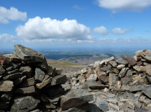 Looking out of Grasmoor summit shelter
