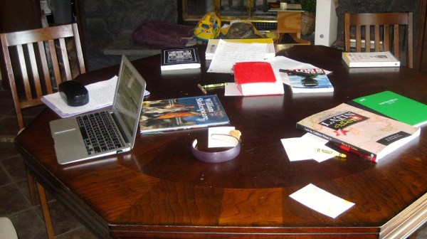 homeschooling without a schoolroom means clearing the table a lot
