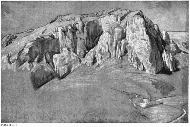 Plate XLIII. MONTE SOLARO CAPRI Study on brown paper in charcoal and white chalk.