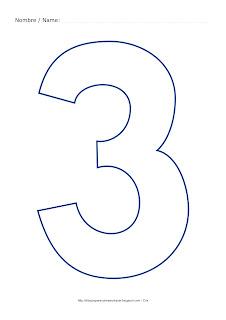 numero tres para colorear colouring