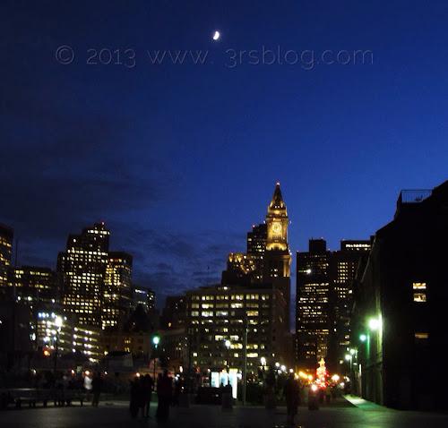 Moonrise sunset summer Boston