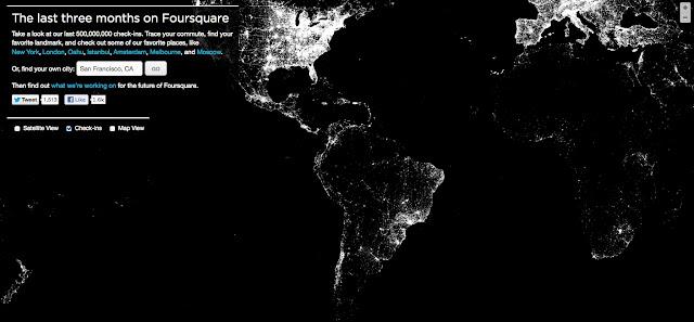 Foursquare y el mapa de los checkins