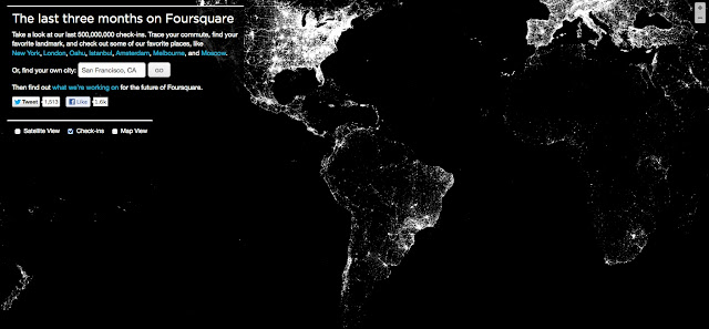 Foursquare y el mapa de los checkins