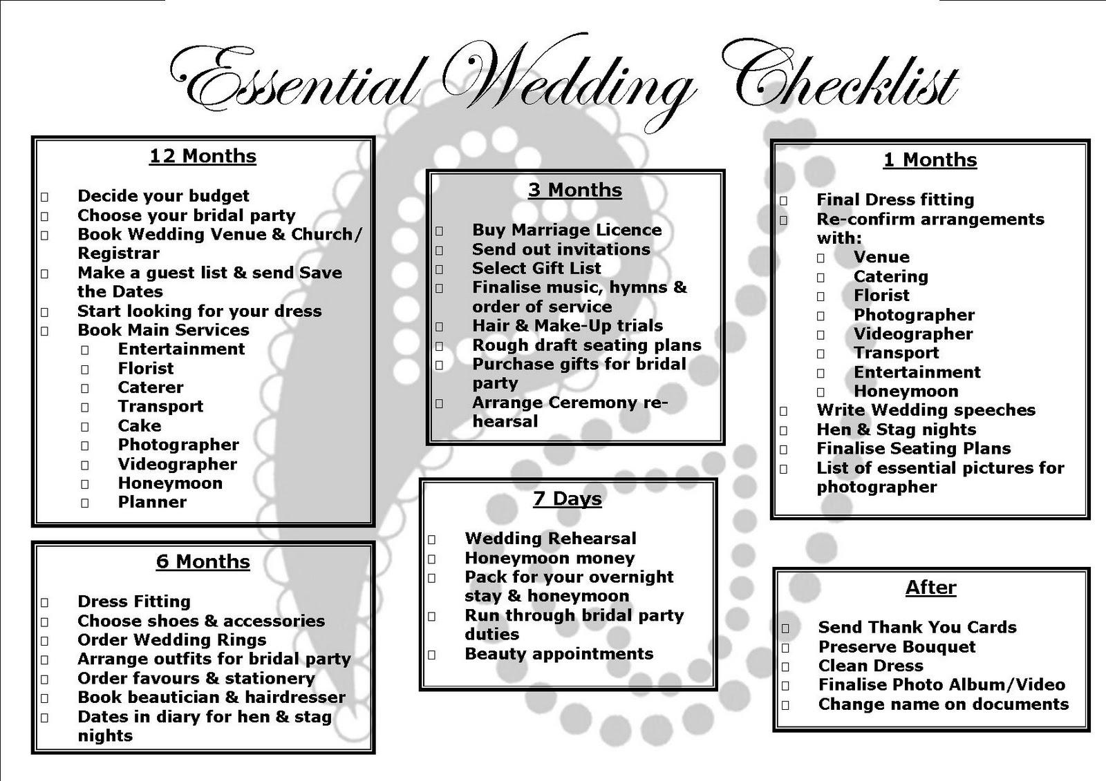 Renfrewshire Wedding Directory Essential Wedding Checklist