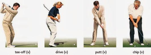 action- tee-off, drive, putt, chip.