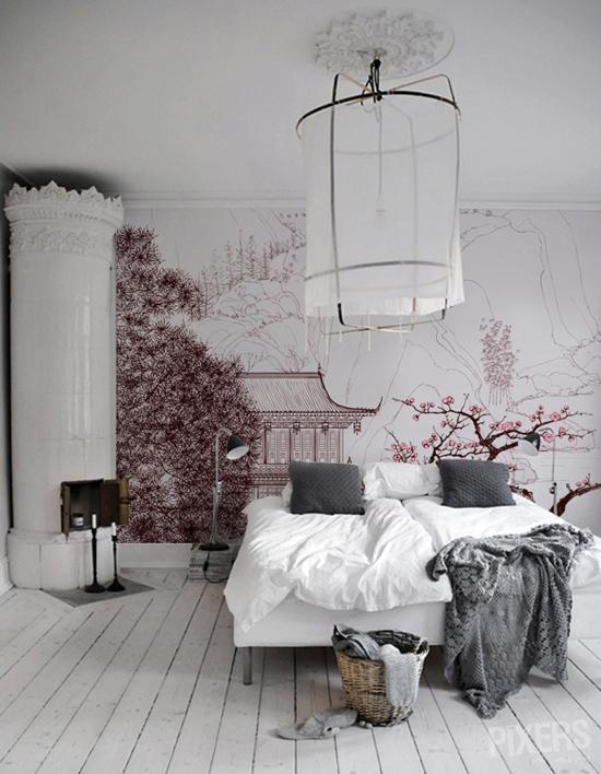 Decoración japonesa de dormitorio.
