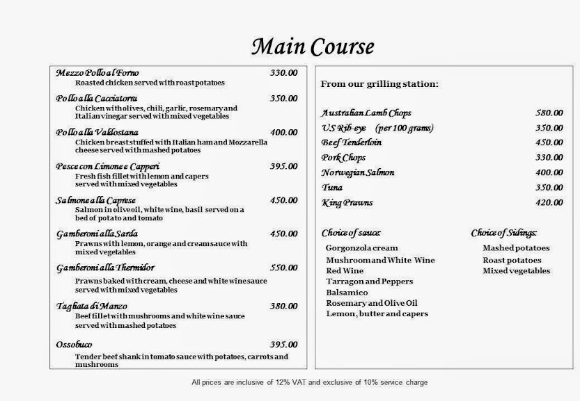 Italian restaurant buona vita menu at alabang - Italian cuisine menu list ...