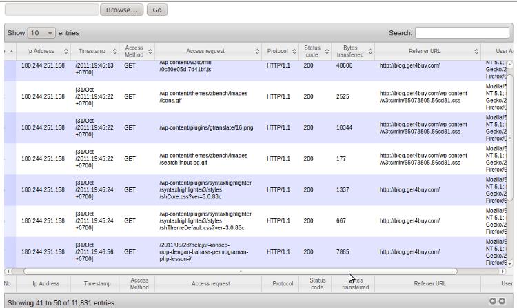 Program Apache web server log viewer