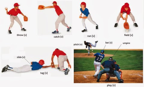 action- throw, catch, run, field, slide,tag, pitch, bat, umpire, play