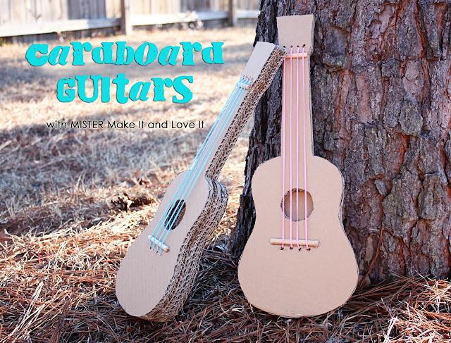 Manualidaddes para niños. Guitarras de cartón