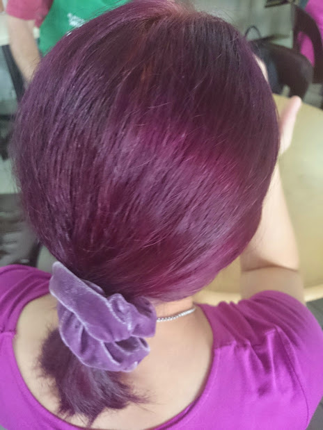 Hey, remember when we coloured our hair purple? Was a fun experience!