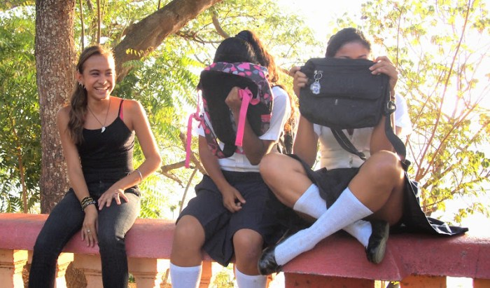 Camera shy school girls in Nicaragua