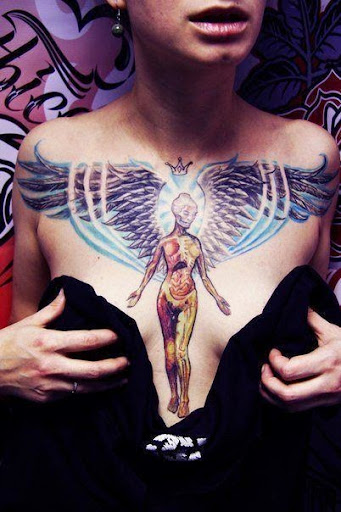 angel tattoos on chest