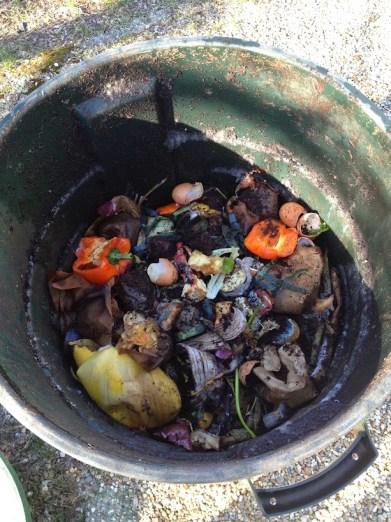 Trash barrel compost bin inside food