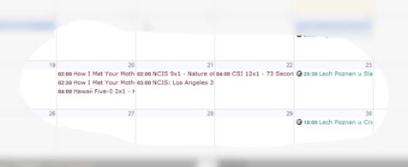 Screen Kalendarza wGoogle