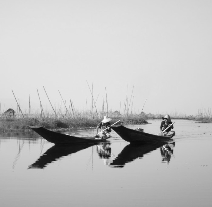 Burmese going around their business on Inle Lake, Burma