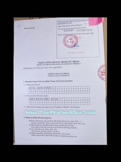 Kem dưỡng da ngăn ngừa nám thể nhẹ Eva Doctor - Whitening Eva được cấp giấy chứng nhận của Sở Y Tế TP.HCM. Giấy phép: 002547/ 13/ CBMP- HCM