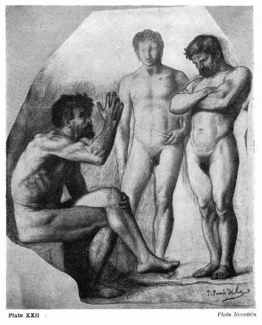 "Plate XXII. STUDY FOR DECORATION AT AMIENS ""REPOSE"" BY PEUVIS DE CHAVANNES Note how the contours are searched for expressive forms, the power given to the seated figure by the right angle of the raised arm, and the contrast between the upright vigour of the right-hand figure with the softer lines of the middle one. Photo Neurdein"
