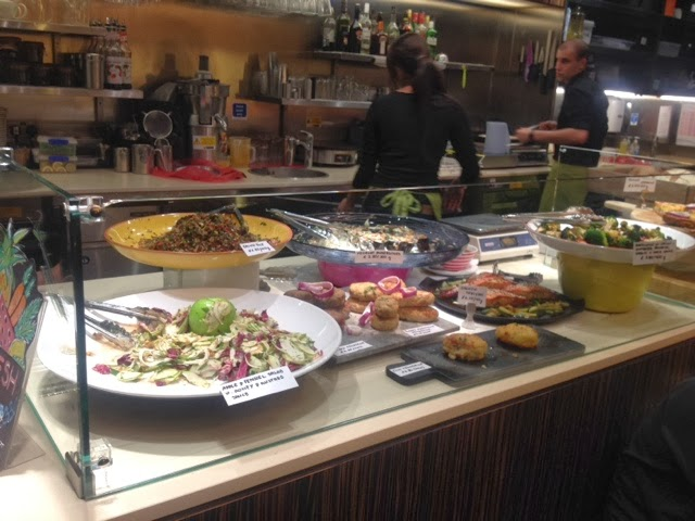 Fresh salad and savoury pastry at the deli counter of L'Eto Caffe London