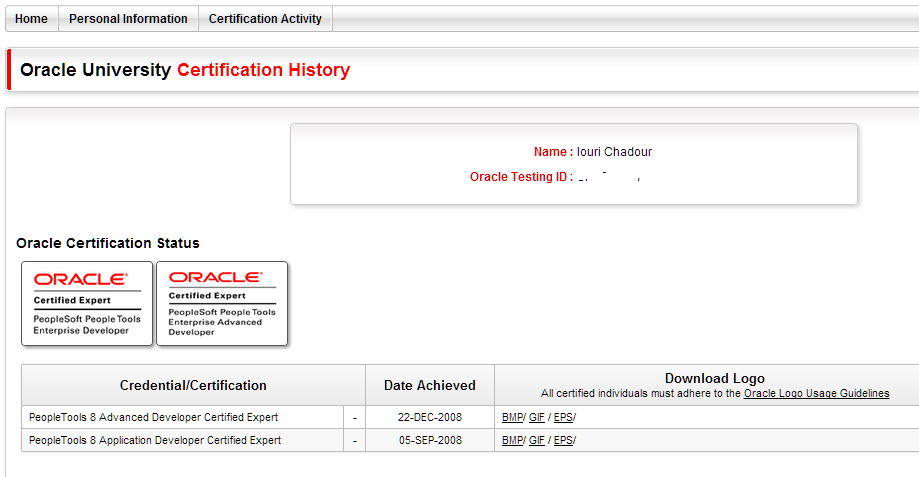Oracle University Certification Status
