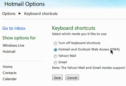 Hotmail keyboard shortcut settings