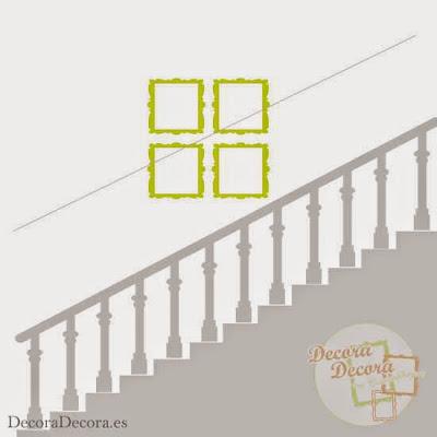 Cuadros en la escalera.