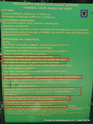 Letrero del reglamento humedal SML