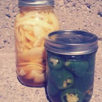 Fridge Pickles (Curried Onions and Dill Peppers)