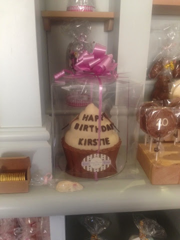 A chocolate easter egg personalised with the name 'Kirstie'